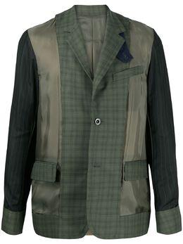 Sacai пиджак со вставками в клетку глен 2002249M