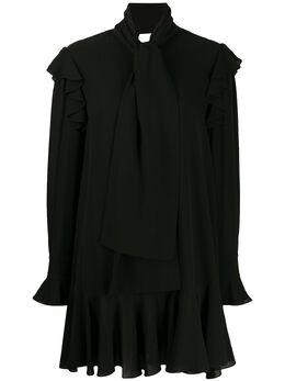 Alexander McQueen платье с длинными рукавами и драпировкой 605641QBAAF