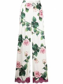 Dolce&Gabbana широкие брюки с принтом Tropical Rose FTBMYTFSAZE