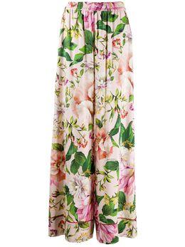 Dolce&Gabbana брюки широкого кроя с цветочным принтом FTA0ZTFSAZK