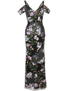 Marchesa Notte вечернее платье с цветочной вышивкой N38G1187