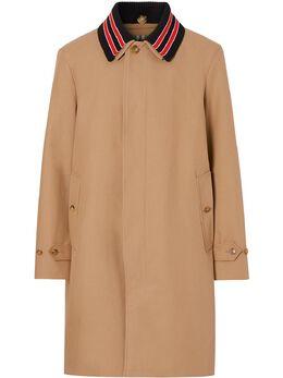 Burberry пальто со съемным воротником в полоску 8023679