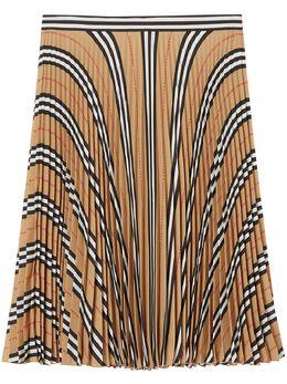 Burberry плиссированная юбка в полоску Icon Stripe 8025671