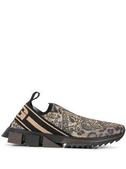 Dolce&Gabbana леопардовые слипоны Sorrento CS1713B9M29