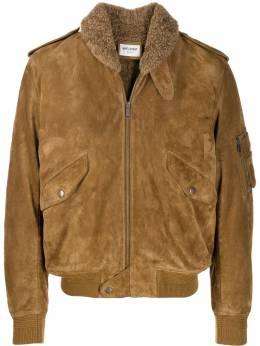Saint Laurent куртка с воротником из овчины 577687YC2UL