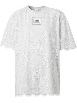 Burberry футболка с кружевным верхом 8029577