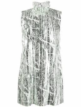 Halpern платье-трапеция с эффектом металлик и оборками S20D291
