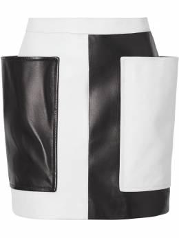 Burberry Pocket Detail Two-tone Lambskin Mini Skirt 4562574