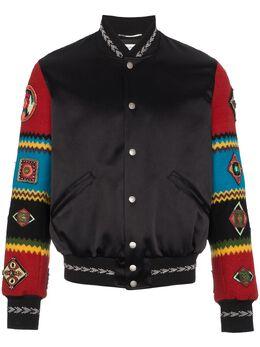 Saint Laurent куртка-бомбер с вышивкой на рукавах 506531Y021S