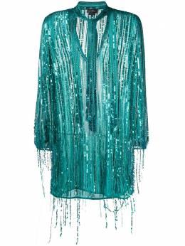 Elisabetta Franchi платье с вышивкой пайетками и бахромой AR74J03E2