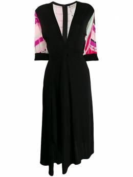 Emilio Pucci платье миди с принтом и глубоким V-образным вырезом 0HJH010H625