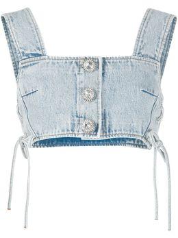 Alessandra Rich укороченный джинсовый топ FAB2078F2794