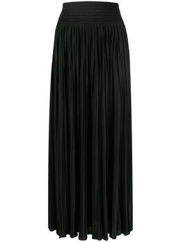 Balmain плиссированная юбка с разрезом TF04713X370