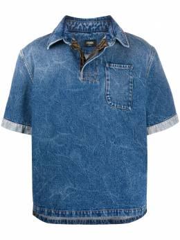 Fendi джинсовая рубашка поло с накладным карманом FLP253AAHV