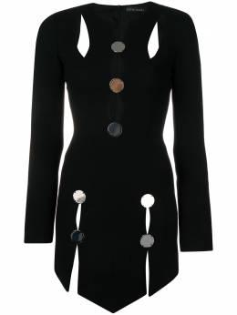 David Koma асимметричное платье с вырезами AW18DK11D