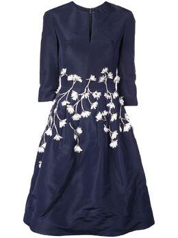 Oscar De La Renta платье с цветочной аппликацией 20RE641FAINVW
