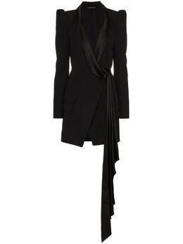 Alexandre Vauthier платье с сатиновыми лацканами и V-образным вырезом 184DR9530376