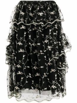 Simone Rocha юбка с цветочной вышивкой и оборками 33540362