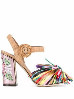 Dolce&Gabbana босоножки с отделкой бахромой CR0384AG766
