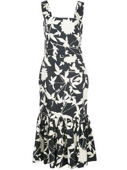 Oscar De La Renta платье с оборками и цветочным принтом 20SN2120GCNNVY