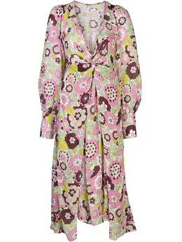 Dodo Bar Or платье миди с цветочным принтом и драпировкой DBO1106