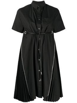 Sacai платье с молниями и плиссировкой 2005078
