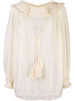 Oscar De La Renta блузка с кисточками 20SE758SLOECR