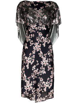 Paco Rabanne многослойное платье миди с цветочным принтом 20PXRO146MH0085