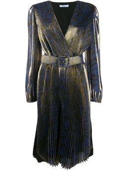 Blumarine плиссированное платье с анималистичным принтом 4422