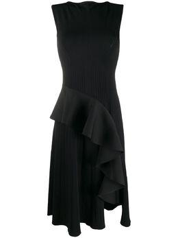 Off-White платье без рукавов в рубчик с драпировкой OWHI026S20KNI0011000