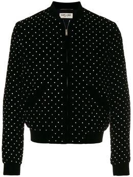 Saint Laurent куртка-бомбер с заклепками 505942Y525R