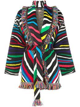 Alanui пальто-кардиган с зебровым принтом и поясом LWHB019S20KNI0048787
