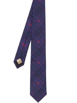 Burberry узкий клетчатый галстук с эмблемой рыцаря 8005076
