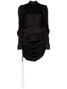 Materiel атласное платье мини со сборками SS20LAN847DRBK