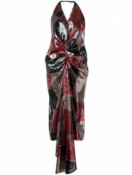 Halpern платье с пайетками и вырезом халтер A19D212