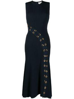 Alexander McQueen платье в рубчик с люверсами 622732Q1AOA