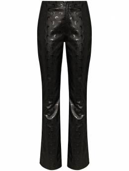 Marine Serre брюки из переработанной кожи с логотипом PU002SS20W