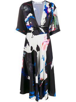 Off-White платье миди с абстрактным принтом OWDB219S20FAB0031008