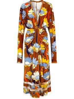 Fendi платье макси с цветочным принтом FDA801A5YZ