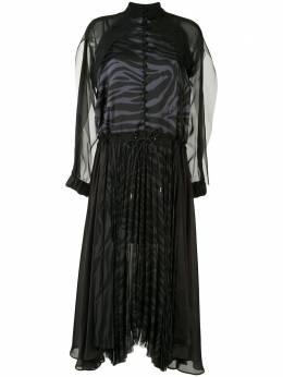 Sacai полупрозрачное платье с плиссировкой 2004914
