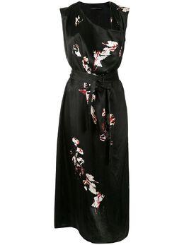 Y's платье миди с драпировкой и цветочным принтом YSD03228
