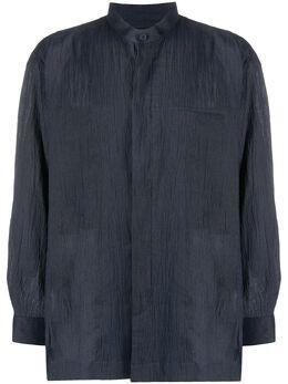 Issey Miyake Men рубашка с воротником стойкой и жатым эффектом ME06FJ217