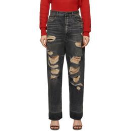 Unravel Black Distressed Baggy Boy Jeans UWYA029S20DEN0021000