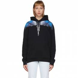 Marcelo Burlon County Of Milan Black and Blue Wings Hoodie CMBB007S20FLE0011045