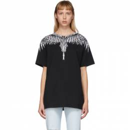Marcelo Burlon County Of Milan Black and White Sharp Wings T-Shirt CMAA018S20JER0031001