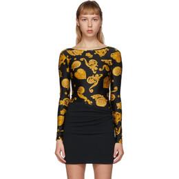 Versace Jeans Couture Black Baroque Jewels Bodysuit ED4HVB648 ES0775