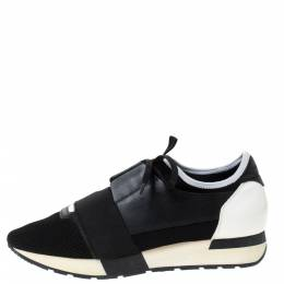 Balenciaga Black/White Mesh And Leather Race Runner Sneakers Size 40 285833