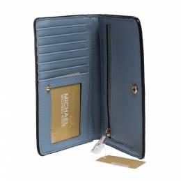 MICHAEL Michael Kors Pale Blue Leather Jet Set Slim Bifold Wallet 285639