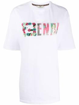 Fendi футболка с вышитым логотипом FF FS7242AC39