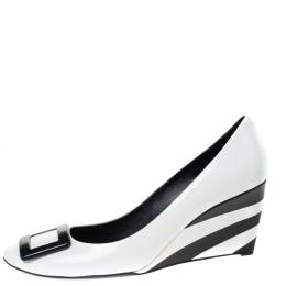 Roger Vivier Black/White Patent Leather Stripe Wedge Pumps Size 40 285737